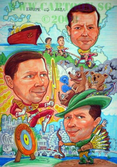 BP Singapore caricature for staff service commemoration gift as parting gifts