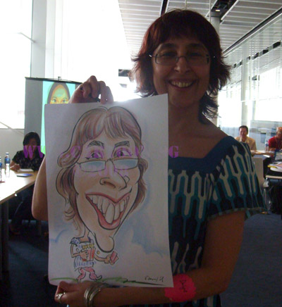 Funny drawings by professional artists at corporate training seminars for busy executives.