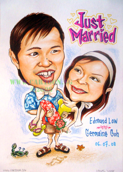 cartoon drawing for wedding invitation card and poster at a wedding dinner by the beach