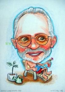 Plans for retirement cartoon drawing from Singapore of person by the beach having an enjoyyable time.