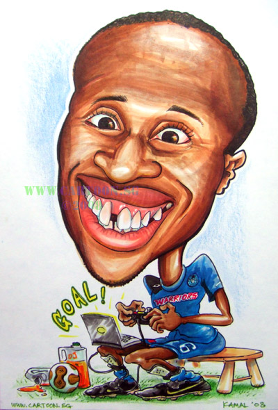 Footballer cartoon caricature drawing by Singapore caricaturist. Soccer cartoon