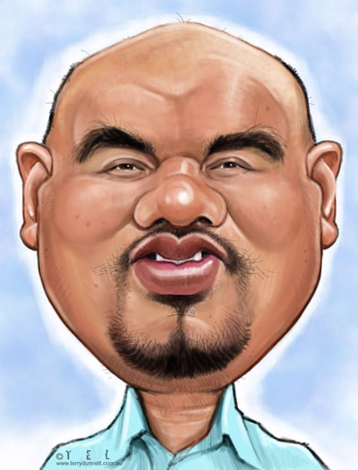 Caricature of Singapore caricaturist in digital format using photoshop