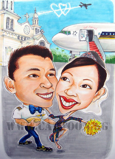 Singapore Airlines Pilot weds Singapore Girl caricature at the church with his boeing 777 parked outside