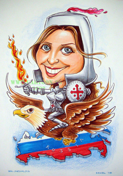 Caricature of girl sitting on an eagle in a crusader armour with shiled and sword.
