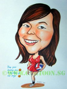 Caricature cartoon drawing of girl playing netball for Singapore