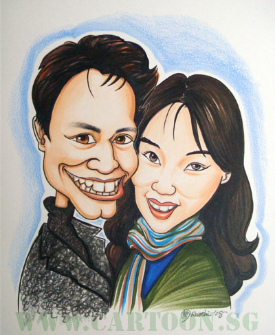 Loving fiance and fiancee caricature drawing