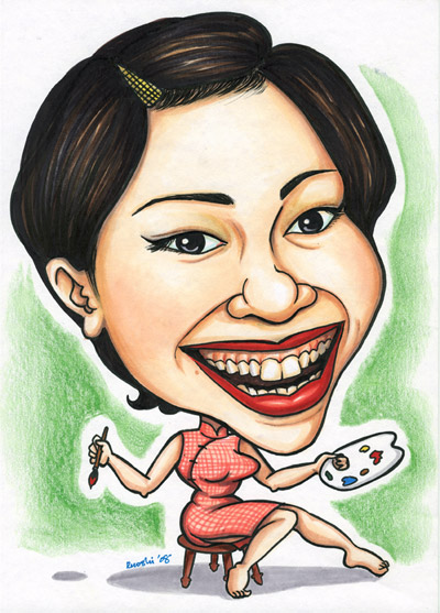 Ye Ruoshi the artist caricatures herself as a painter in Cheong Sam