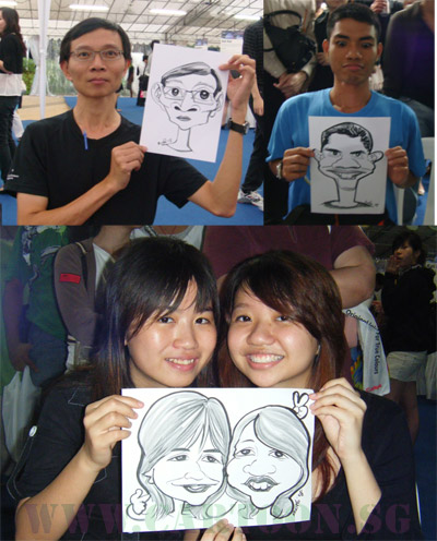 Singapore caricature artist Ye Ruoshi funny drawings for public entertainment