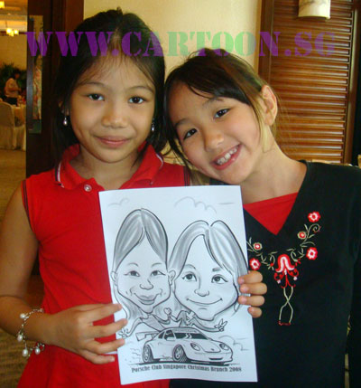 Drawing caricatures was fun and novel way to keep guests entertained at this special Christmas gathering. .