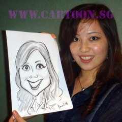 Professional caricature artists for hire by the hour at parties and events. Caricature artist at events in Singapore. Entertainment at parties and corporate events, weddings, public functions. Good fun and laughs for guests. Special and unique, one-of-a-kind gifts for firends, colleagues and loved ones. Not exactly a portrait but a cartoon drawing of your likeness exaggerated - Its a caricature! Singapore professional artists trained in USA and Japan on American party caricature style.