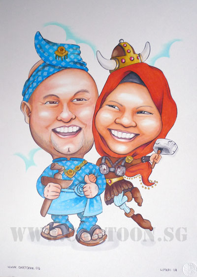 caricature viking malay wedding couple