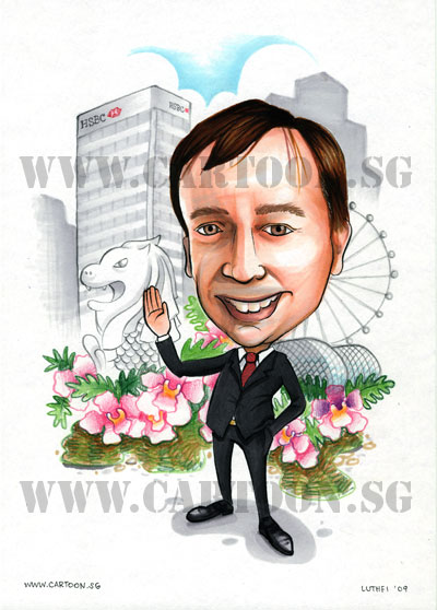 Caricature of HSBC executive in business suit waving in front of merlion singapore flyer esplanade. Special gift for big boss to make him happy.