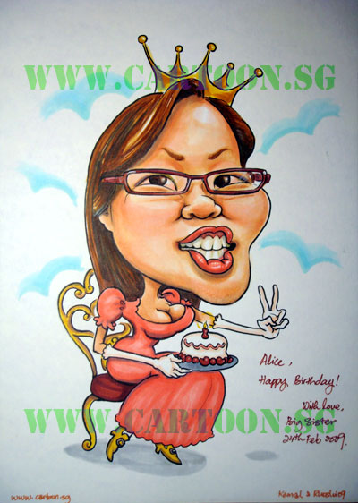 Birthday gift caricature by a repeat customer.