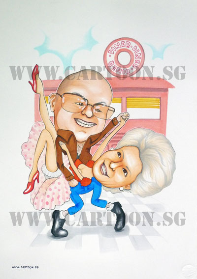 caricature-rocknroll-couple-anniversary