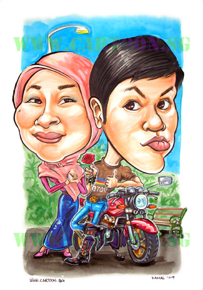 A Valentine day gift caricature for the girlfriend of this cool rider who's other love is for a red colour Honda Super Four.