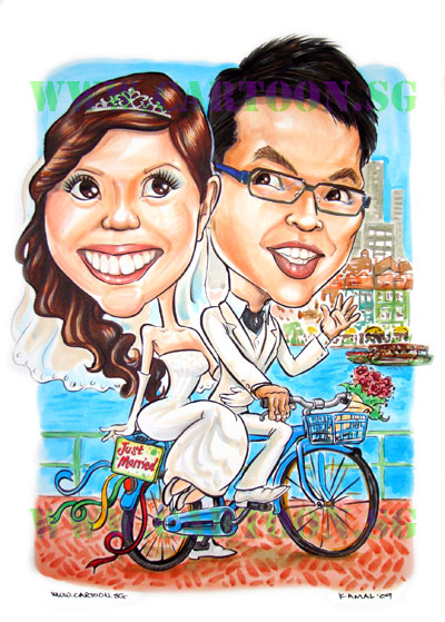 The wedding couple use to cycle at boat quay when they were dating so they asked for a bicycle