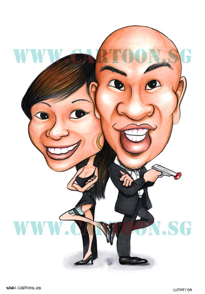 Cartoon Caricatures for wedding invitation card and sign in board ...