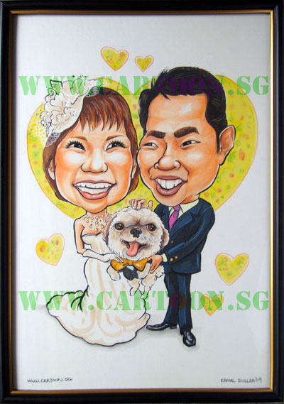 This is a gift from the brother of the bride. Their pet dog is included and he also ordered the frames.