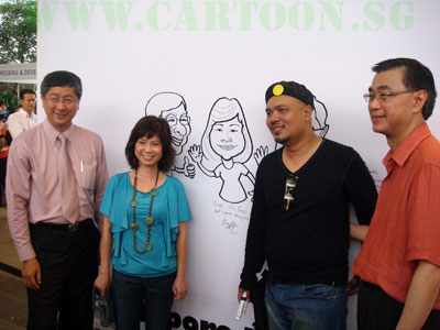 The event was launched by Minister Lim Boon Heng, MP Dr. Amy Khor and Chairman Koh Poh Tiong. They each signed their message on their caricature.