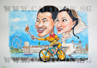 caricature-fedex-sports-bicycle-cyclist-olympic-wedding-3