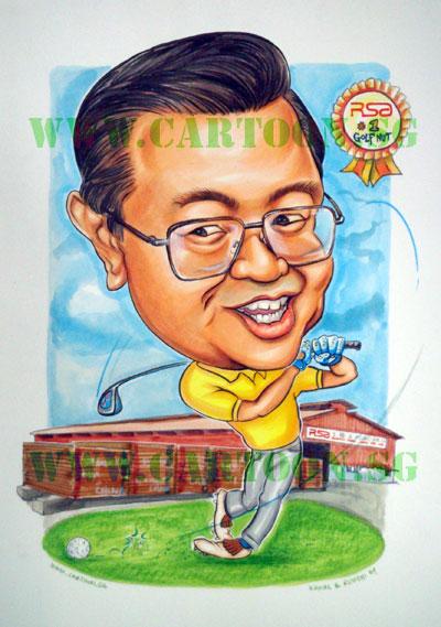 Golf-Nut-Boss-Caricature
