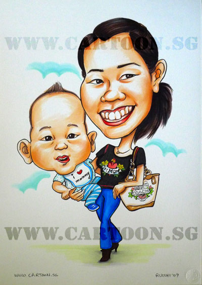 caricature mom mother cute baby #1 singapore