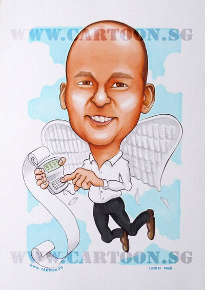 caricature-accountant-guardian-angel