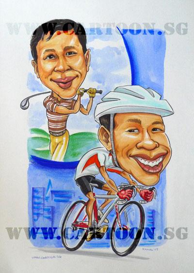 caricature-husband-golfer-cyclist