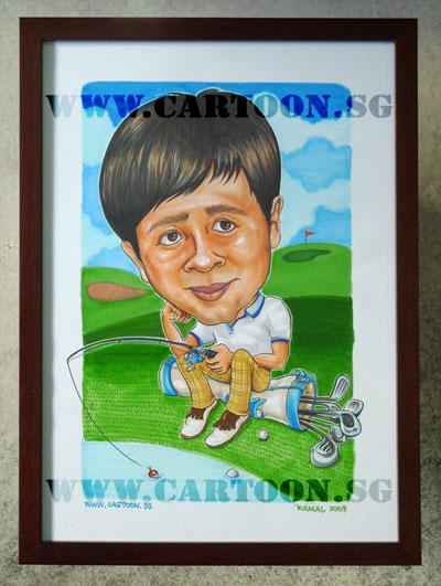 caricature-husband-golfer-fishing