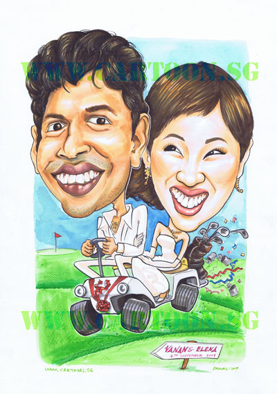 The husband loves golf and is a fan of Tiger Woods and they'll be holding thier wedding reception at a country club. They requested to have a golf buggy as their bridal car.