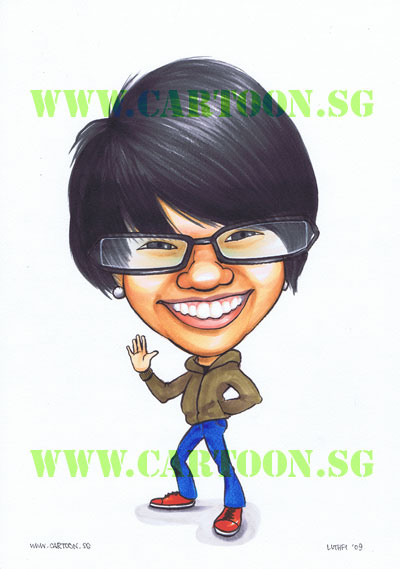A simple caricature with little to distract from the shape of the face.