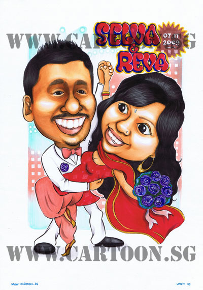 bollywood-couple-caricature