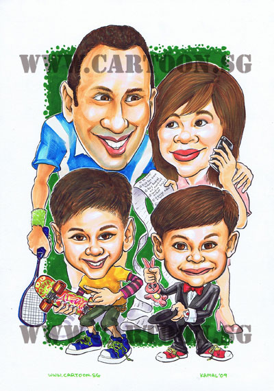 family-caricature-mom-dad-son-tennis-skateboard-iphone-list-magic