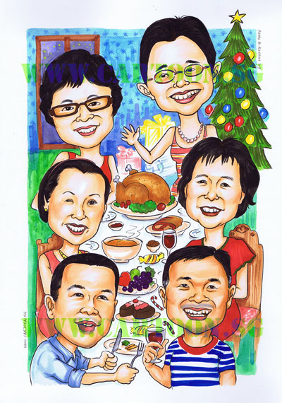 We're beginning to get orders for Christmas gifts. This is a group caricature for 6 brothers and sisters. The lady that ordered this said that for someone who already has everything, a caricature is all she could think off. The exaggeration here is very mild. She told us not to hold back and to push the exaggeartion for her future orders.