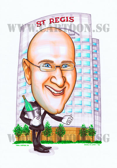 St-Regis-caricature-singapore-wine-bucket-hotel