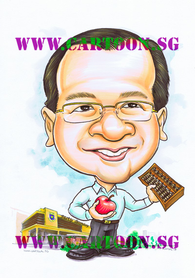 Teacher of Beatty Secondary School gifts for vice principal. How to paint with poster colour. Singapore art class, AMIS instructors. School vendors, Real Singapore artists. Cartoon gifts, comic caricatures by famous artists, Singapor how to draw funny people with big head small bodies. Fun events idea. Drawing entertainers. Trade show artists. Cartoon caricatures artists in Singapore, caricaturists, sketch drawing portraits. Stuido art, artwork painting face picture.