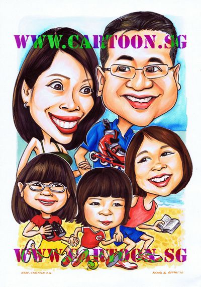 Family fun pictures. Funny family portraits, Gifts for boss, Special gift for company event, uniquely original gift idea presents for senior manager for dignified gifts to commemorate special occassion. Cartoon caricature sketch drawing by Singapore artist entertainment party company studio. Group of talented Singapore artists with original comics and illustration masterpieces. Where to find caricature artists for wedding invitations in Singapore.