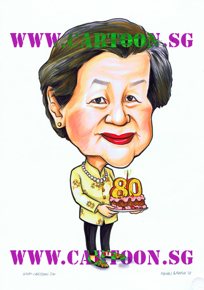 80th birthday celberation Gifts for boss, Special gift for company event, uniquely original gift idea presents for senior manager for dignified gifts to commemorate special occassion. Cartoon caricature sketch drawing by Singapore artist entertainment party company studio. Group of talented Singapore artists with original comics and illustration masterpieces. Where to find caricature artists for wedding invitations in Singapore.