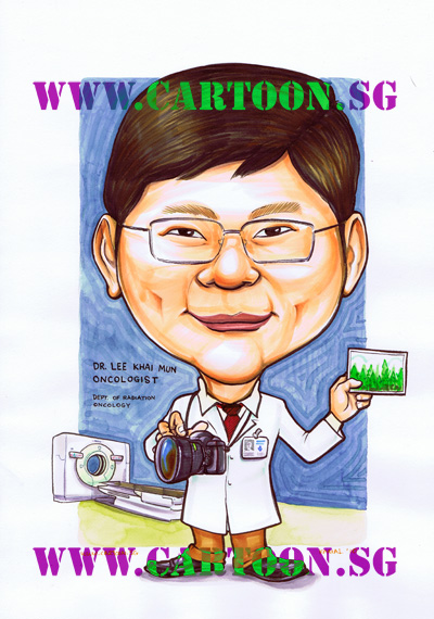 Caricature of doctor and xray machine holding a camera and photograph of trees. Happy people are boring people. I'm bored already. Sketch drawing by cartoon caricature illustrator artists in Singapore painting funny big head cartoon drawings very colourful colors.