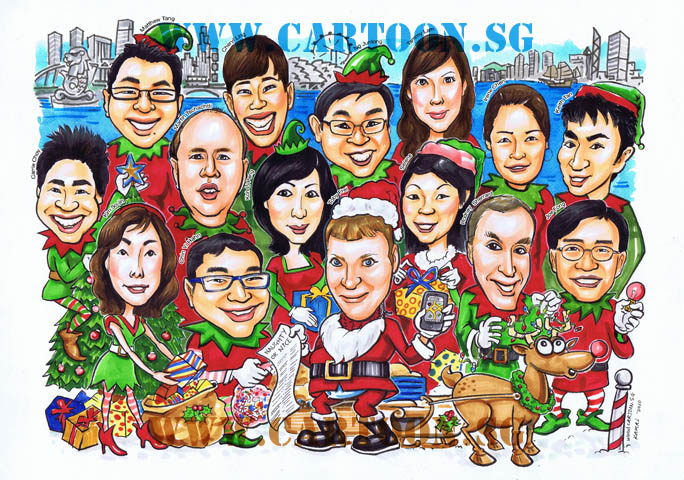 Christmas Theme Caricature Darwing