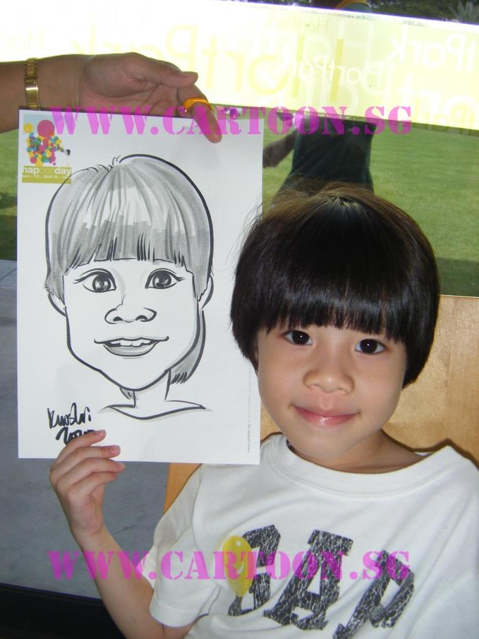 'Live' Drawing Caricature @ Hortpark - Children