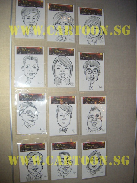 'Live' Drawing Caricature @ MEGU, Singapore Flyer - B/W Drawing of the guests