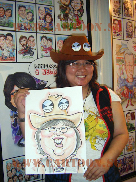 Cowboy Lady - Colored caricature