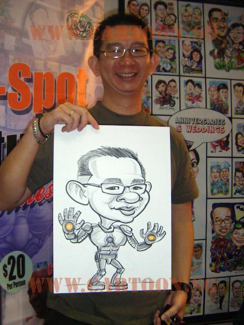 Ironman B/W Caricature