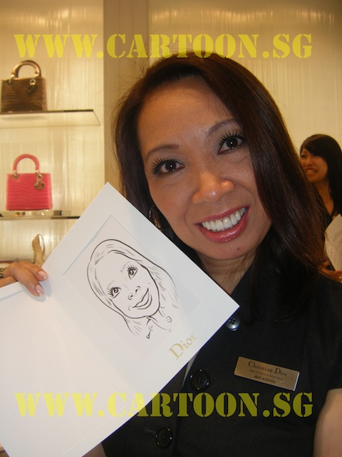 'Live' Caricature Drawing - Private Funtion - Dior Staff - B/W Drawing