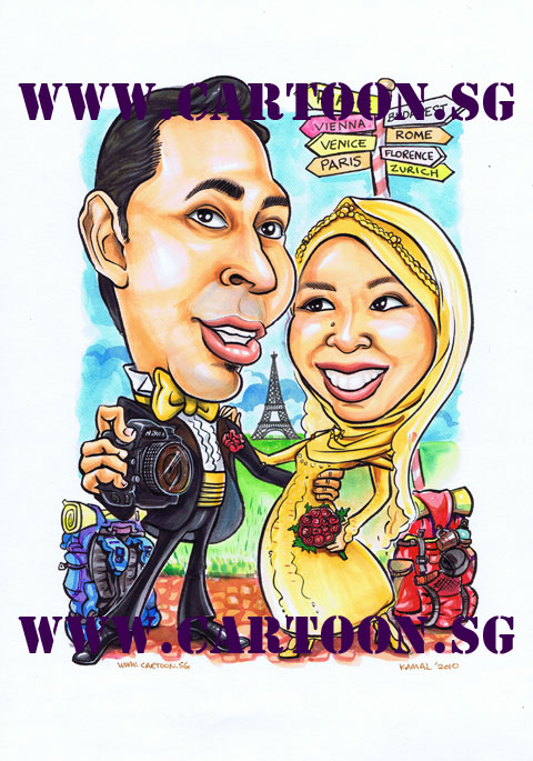 Drawing of Malay Couple Wedding Caricature with camera and back pack in Europe