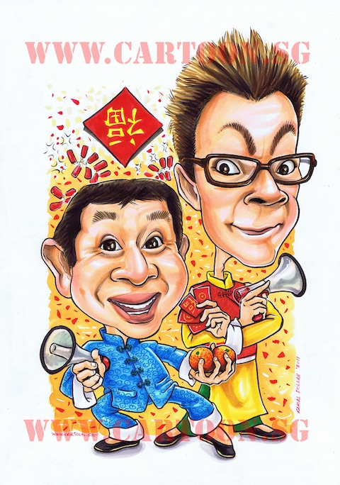 Chinese new year greetings caricature or comedian mark lee and studio caricature for mark lee and henry thia for chinese new year of the rabbit m4hsunfo