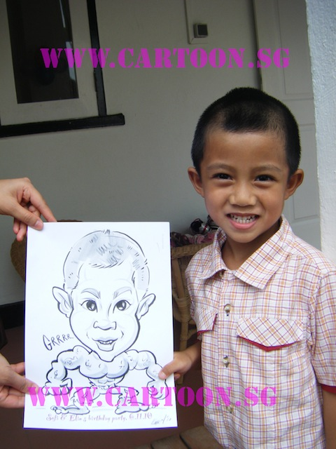 Sofi & Elin's Birthday Party - B/w Cartoon Drawing-Children Party