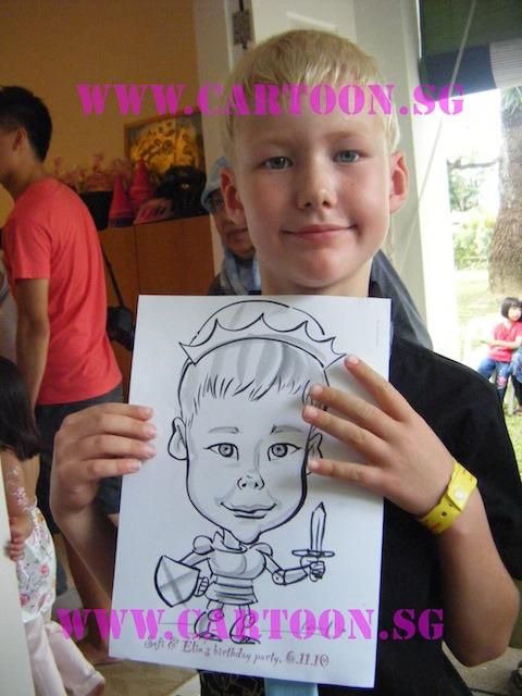 Sofi & Elin's Birthday Party - B/w Cartoon Drawing- Friend Guest