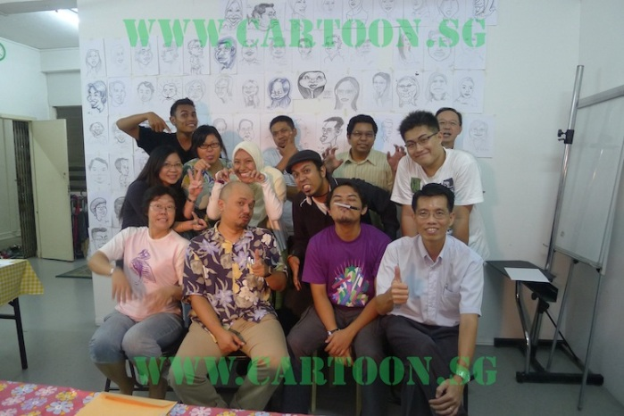 Art Class Student of Cartoon.Sg completing their caricature drawing lesson on how to draw funny cartoon faces.